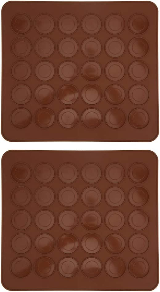2 piezas Macarons Mold Mat 30 agujeros Macarons Almohadilla de silicona para hornear Horno antiadherente Utensilios para hornear Pastel Molde de chocolate Pasteler/ía Bandeja para hornear Herramienta