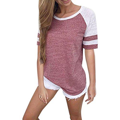 CUCUHAM Fashion Women Ladies Short Sleeve Splice Blouse Tops Clothes T Shirt(XXX-Large,Pink) Cotton Slim Cross Stripes