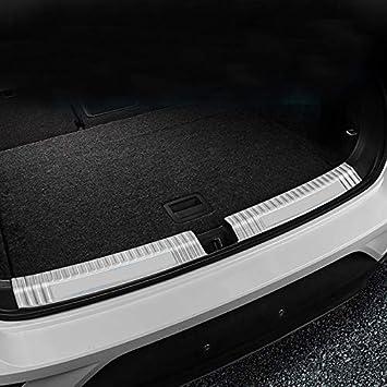 para T-Roc 2017 2018 Exterior&Interior Maletero Protección acero inoxidable (Silver, Interior)