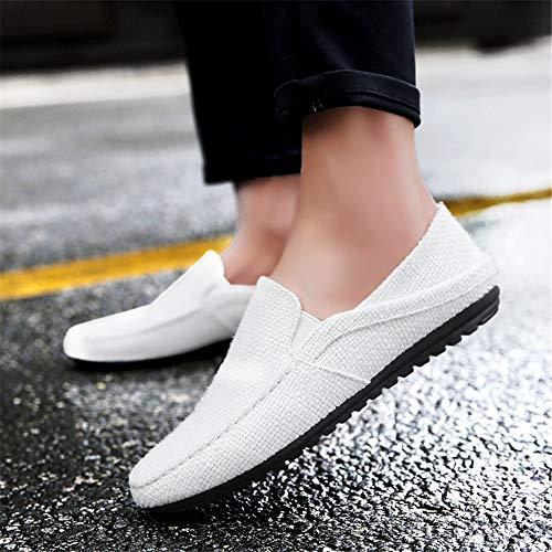 cómodas de Hombre Transpirable Alpargatas Las conducen de Que Lino Antideslizantes Moda para Blanco Zapatos gqdBPwB