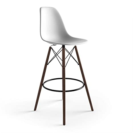 Peachy Amazon Com Molded Plastic Bar Stool With Wood Legs Set Of Machost Co Dining Chair Design Ideas Machostcouk