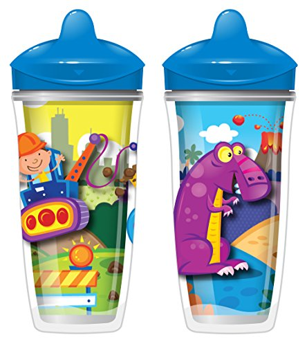 Playtex Sipsters Stage 3 Spill-Proof, Leak-Proof, Break-Proof Insulated Spout Sippy Cups for Boys - 9 Ounce - 2 (Spill Proof Spout)