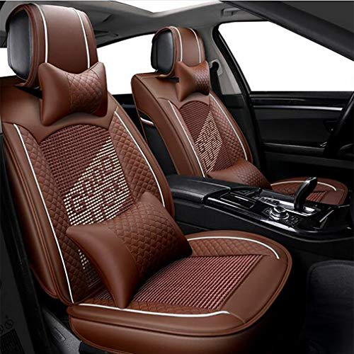Car seat covers, protective covers, leather seats, leather and silk, Peugeot, brown: