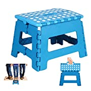 Heim & Elda Folding Step Stool, Super Strong Plastic 9 Inch Step Stool for Kids and Adults with Handles, Blue