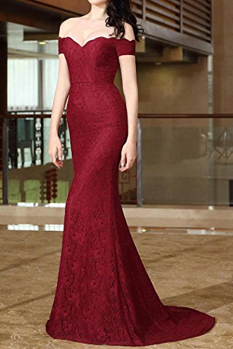 Hors De D'honneur Demoiselle Sirène Dentelle Sexy Special Bal Style12 Robe Rouge la Vin épaule Bridal Longue Soirée qPxnFEX