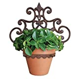 """""""ABC Products"""" - Heavy Cast Iron - Wall Mount - With Elegant Scroll Work - Flower Pot - Fold-Up Hanger (Bronze Rustic Finish - Primitive Design - Flower Pot Not Included)x"""