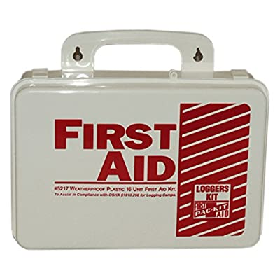 "Pac-Kit by First Aid Only 5217 85 Piece Weatherproof Plastic Loggers First Aid Kit, 6-1/2"" Length x 9-1/2"" Width x 2-3/4"" Height from Acme United"