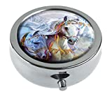 Hiuyi Arabian Jewels Custom Personalized Round Pill Box Pocket Wallet Travel Pill Vitamin Decorative Box Protector