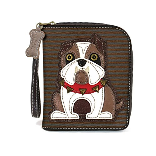- Chala Zip Around Wallet, Wristlet, 8 Credit Card Slots, Sturdy Pu Leather, Bulldog - Brown Stripe