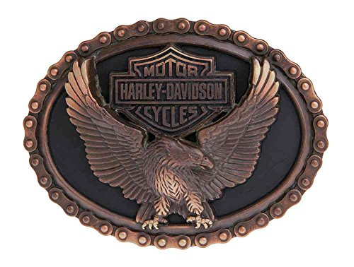 [Harley-Davidson Men's Vintage Glory Eagle Belt Buckle, Antique Copper HDMBU11042] (Harley Belt Buckles)