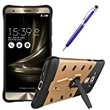 DMG Sniper Dual Layer Hybrid Back Cover Kickstand Case for Asus Zenfone 3 Deluxe 5.7in ZE570KL (Gold) + Crystal Stylus Pen