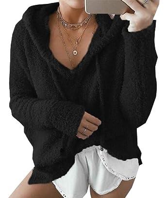 Amazon.com: Las mujeres de manga larga Pullover Hoodie ...