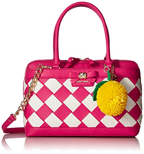 Betsey Johnson Forbidden Fruit Satchel, Fuchsia Bow Satchel
