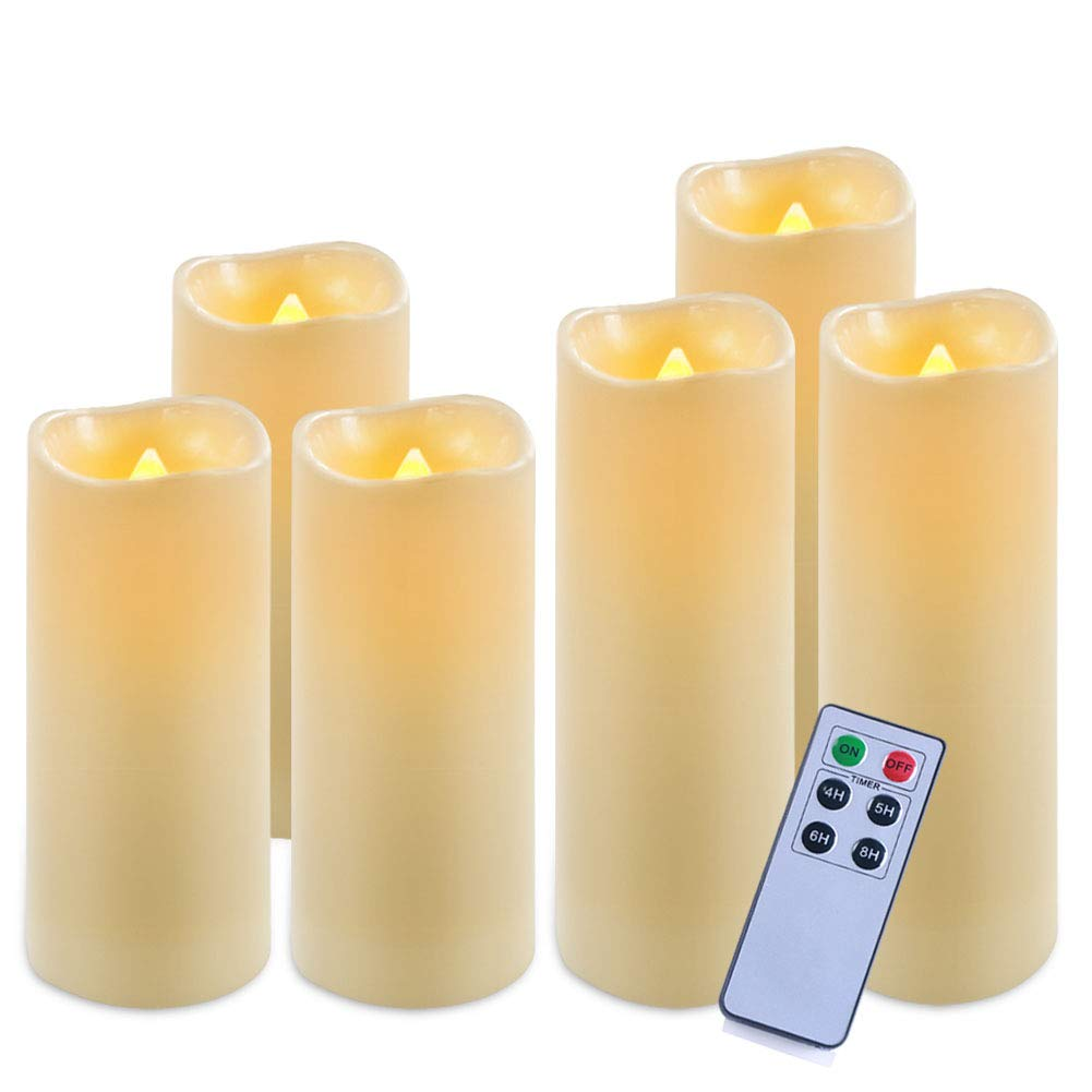 Homemory Pack of 6 Waterproof Flameless Candles Set (Ivory,H 6''6''6''7''7''7'' x D 2.2'') - LED Flickering Pillar Candles with Remote and Timer - Outdoor Battery Operated Candles with Amber Yellow Light