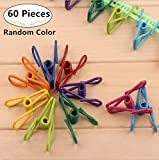 60 Pieces Metal Clips Holders, Magnolora Multi-purpose Clothesline Utility Clips Assorted Colors Clothespin Wire Clips Clothes Pegs Pins, Perfect Accessories & Supplies for Home Laundry Kitchen Office
