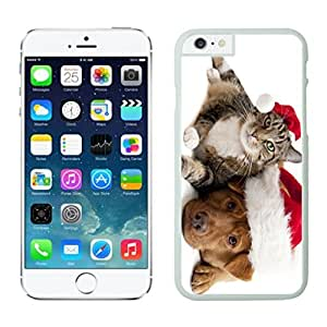 Best Buy Design Lovely Red Christmas Hat Dog With Cat White Phone Case For Iphone 6 4.7 Inch