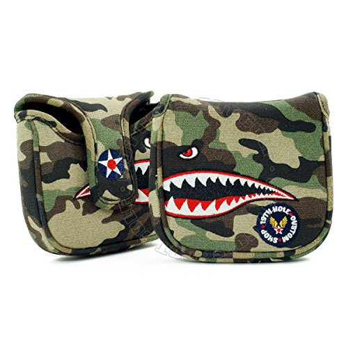 Fighter Plane High-MOI Mallet Putter Headcover, Heel Shaft, Camouflage (Putter Moi)