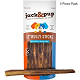 "Jack&Pup 12-inch Premium Grade Odor Free Bully Sticks Dog Treats [EXTRA-THICK], (3 Pack) – 12"" Long All Natural Gourmet Dog Treat Chews – Fresh and Savory Beef Flavor – 30% Longer Lasting Review"
