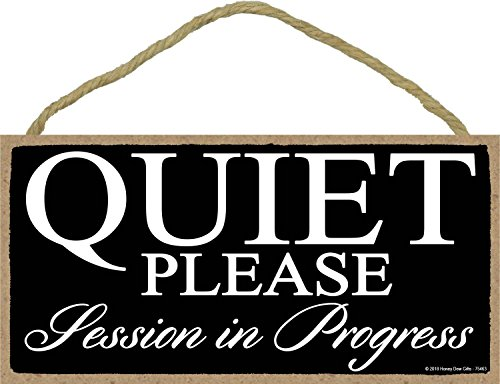 Honey Dew Gifts Black Quiet Please Session in Progress - 5 x 10 inch Hanging Door Sign for Office, Salon, or Commerical Use