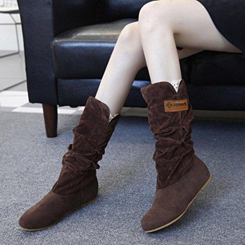 Flache Ferse kniehohe Stiefel für Frau, cinnamou Herbst Winter Nubuck Motorrad kurze Boot-Schuhe (36, Gelb) Kaffee