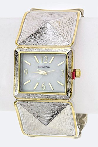 Trendy Fashion Jewelry Textured Pyramids Bangle Watch By Fashion Destination | - Wholesale Fashion Trendy