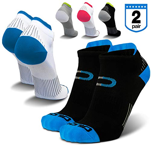 Compression Running Socks for Men & Women (2 Pairs) - Best Low Cut, No Show Athletic Ankle Socks with Heel Tab, Seamless Toe, Moisture Wicking, Arch Support for Runners, Plantar Fasciitis, Cycling