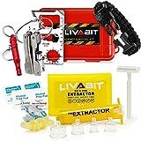 LIVABIT Dual Pack First Response Safety Tool Emergency Kit 4 Gauge Venom Sting Extractor Pump + Bonus CPR Face Shield & SOS Survival Multi Tool Pack