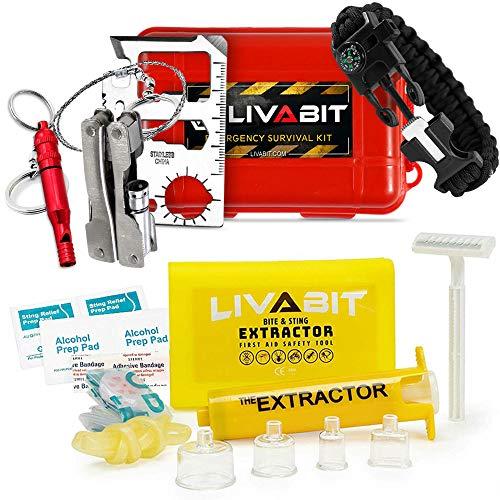 (LIVABIT Dual Pack First Response Safety Tool Emergency Kit 4 Gauge Venom Sting Extractor Pump + Bonus CPR Face Shield & SOS Survival Multi Tool Pack)