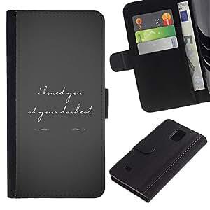 KLONGSHOP / Tirón de la caja Cartera de cuero con ranuras para tarjetas - Love Darkest Grey Text Couple Valentines Tragic - Samsung Galaxy Note 4 SM-N910