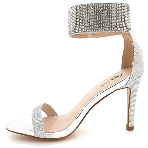 AARZ LONDON Womens Ladies Crystal Diamante Evening Wedding Party Prom Gladiator High Heel Sandal Shoes Size Silver 5ebSfe2J