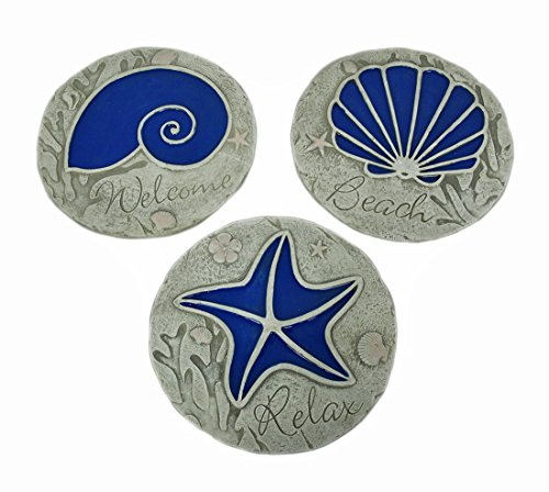Nautilus 3 Piece (Stone Stepping Stones 3 Piece Blue Seashell Beach Stepping Stone/Wall Hanging Set 10 X 0.5 X 10 Inches Blue)