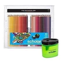 Prismacolor Scholar Art Pencils, Box of 60 and Pencil Sharpener Bundle
