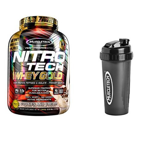 - MuscleTech NitroTech Whey Gold, 100% Whey Protein Powder, Whey Isolate and Whey Peptides, Cookies and Cream, 5.5 Pound and Bottle Shaker Cup, 28 Ounce