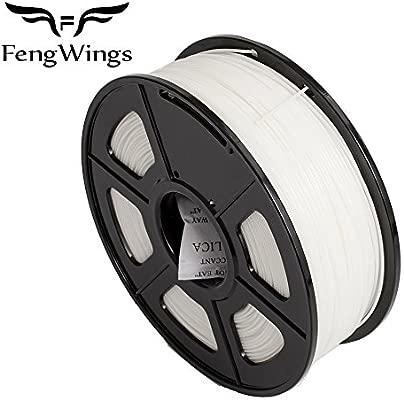FengWings - Filamento ABS para impresora 3D, de 1,75 mm, bobina de 1 kg filamento plástico, blanco, 1