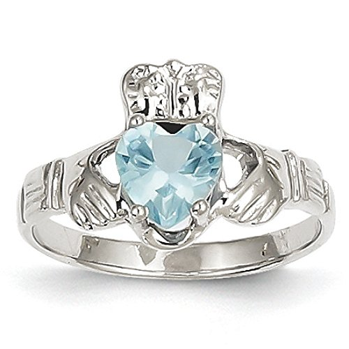 14K Gold March Birthstone Synthetic Claddagh Ring (White-Gold)
