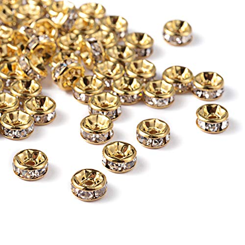 Craftdady 100Pcs Grade A Crystal Clear Rhinestone Rondelle Spacer Beads 8x3.8mm Nickel Free Golden Plated Brass Flat Round Metal Charm Beads for DIY Jewelry Making with 1.5mm Hole