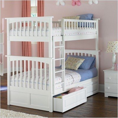 Columbia Bunk Bed with Raised Panel Drawers in White - Size: