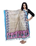 IndiWeaves Women Bhagalpuri/Tussar Silk Digital Print Cream+Purple Dupatta