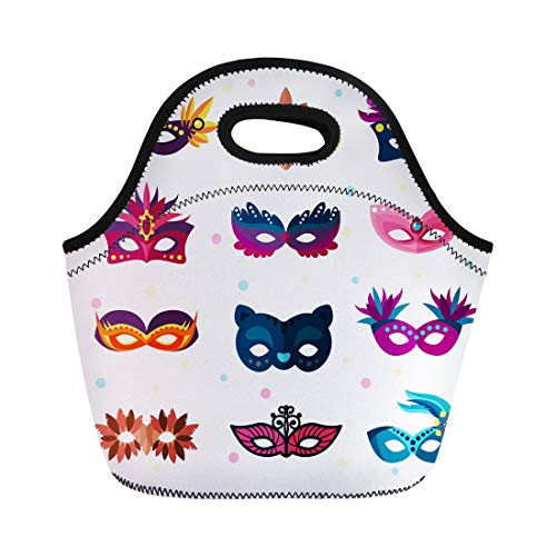 Semtomn Neoprene Lunch Tote Bag Colorful Mardi Authentic Party Carnival Face Masks Masquerade Gras Reusable Cooler Bags Insulated Thermal Picnic Handbag for Travel,School,Outdoors, Work -