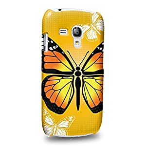 Case88 Premium Designs Art Print Yellow Butterfly Drawing Carcasa/Funda dura para el Samsung Galaxy S3 mini (No Normal S3 !)