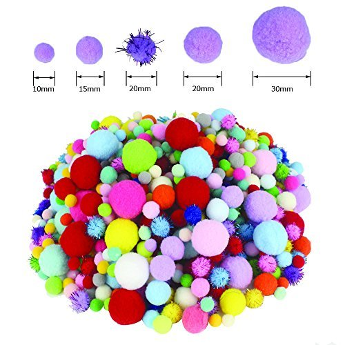 LoveS 1000 Pcs Pom Poms Craft Making Assorted Sizes & Colors, Creative Craft DIY Material by Love's