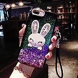 Case for XiaoMi Mi 5X, SevenPanda XiaoMi 5X Stand Luxury Bling Hybrid Rubber Cute Rabbit Liquid Star Ring Stand Holder Glitter Makeup case for Girls Women with Crystal Neck Lanyard - Purple