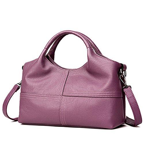 Capacité Doux PU À Sacs Sacs TENGGO Rouge Main Vin Grande en Cuir Violet Couture Femmes À Bandoulière Solide 1qfx0P