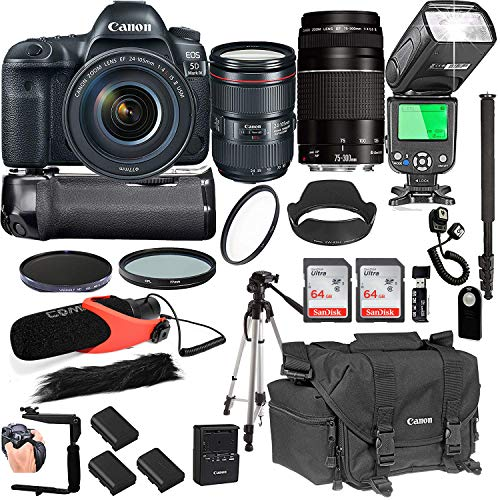 Cheap Canon EOS 5D Mark IV with 24-105mm f/4 L is II USM + 75-300mm III Lenses + 128GB Memory + Canon Camera Bag + Pro Battery Bundle + Power Grip + Microphone + TTL SpeedLight + Pro Filters,(24pc Bundle)