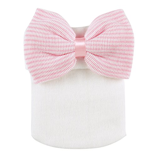 Evelin LEE Newborn Baby Infant Girl Nursery Beanie Hospital Hat With Bow (Pink White)