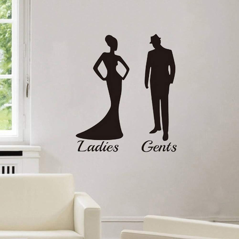 Ladies Gents Silhouette Sticker Bathroom Toilet Door Decal Waterproof DIY Decor High Quality