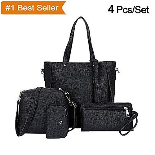 308dd8c5ff Xixou Big 4Pcs Set Women Faux Leather Handbag Shoulder Bag Tote Purse  Messenger Clutch Grey
