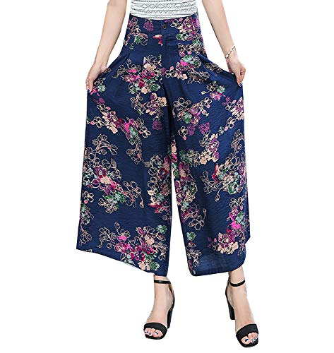 Donna Sciolto Elastico Casuale A Vita Alta Gamba Larga Pantaloni Lunghi Elegante 4