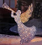 46'' Lighted Glitter Sequin 3-D Angel with Trumpet Christmas Yard Art Decoration - Clear Lights