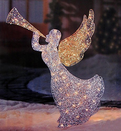 Outdoor Lighted Angel With Trumpet